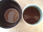 coffee on left has 1 tbsp half/half, coffee on right has 1 tbsp almond milk